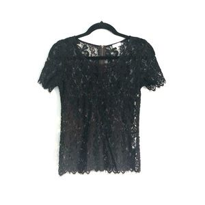 Matabelle Lace Short Sleeve Top Black
